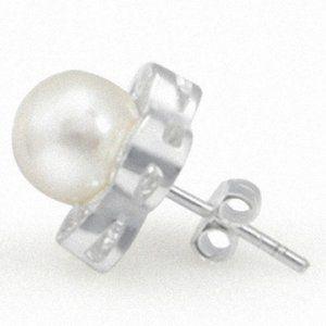 Jewelry - 14K Gold Diamond Pearl Flower Earrings